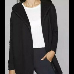 Athleta Grey Open Front Hooded Sweatshirt Cardigan